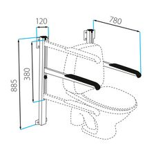 Toilet support frame, wall mounting