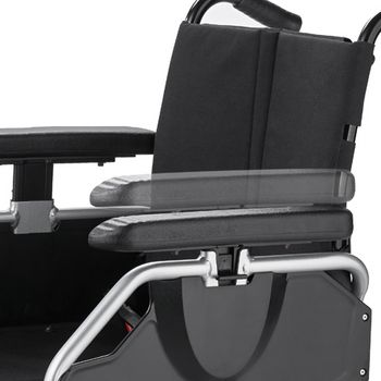 Height-adjustable side guard with depth-adjustable arm supports in series